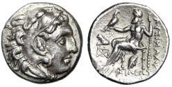"Ancient Coins - King of Macedonia: Lysimachos AR Drachm ""Herakles / Zeus Lion Phrygian Cap"" gVF"
