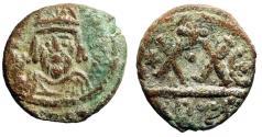 """Ancient Coins - Heraclius AE Half Follis """"Helmeted Portrait Facing, XX"""" Carthage VF"""