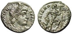 """Ancient Coins - Valens AE17 """"GLORIA ROMANORVM Dragging Captive"""" Siscia RIC 14b About EF"""