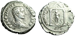 "Ancient Coins - Geta Denarius ""PONTIFEX COS Asklepios & Snakes in Temple"" Unpublished Extremely Rare"