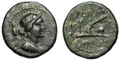 "Ancient Coins - Sicily, Kentoripai (Kentoripiae) AE Sextans ""Demeter & Plow, Bird"" nVF"
