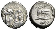 "Ancient Coins - Moesia, Istros AR 1/4 Drachm (Diobol) ""Two Heads & Eagle"" Rare Control Good VF"