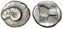 "Ancient Coins - Troas, Kebren AR Hemidrachm ""Head of Ram & Quadripartitie Incuse"" Very Rare EF"