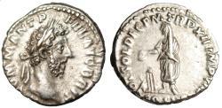 "Ancient Coins - Commodus Silver Denarius ""VOT SOL DEC Emperor Togate, Altar"" Rome RIC 185 nEF"