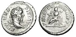 "Ancient Coins - Septimius Severus Silver Denarius ""Salus Seated, Snake on Lap"" RIC 230 VF"