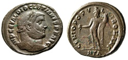 "Ancient Coins - Diocletian AE Follis ""GENIO POPVLI ROMANI Genius"" Heraclea RIC 17a About VF"