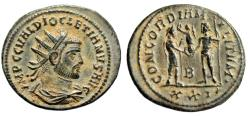 "Ancient Coins - Diocletian AE Radiate ""CONCORDIA MILITVM  Jupiter"" Cyzicus RIC 306 Choice Patina"