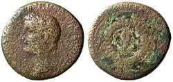 """Ancient Coins - Tiberius AE Dupondius """"Small Facing Portrait in Laurel Wreath on Shield"""" Rare"""
