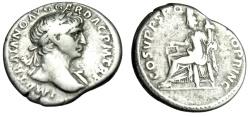 "Ancient Coins - Trajan Silver Denarius ""Aequitas Seated, Equal Measure"" Rome RIC 119 Fine"