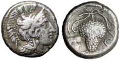 "Ancient Coins - Cilicia, Soloi AR Stater ""Helmeted Athena & Grape Cluster, Leaf"" gVF"