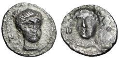 """Ancient Coins - Cilicia, Nagidos AR Obol """"Aphrodite & Dionysos Facing"""" Rare VF"""