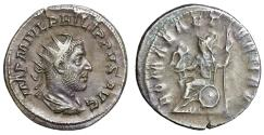 "Ancient Coins - Philip I The Arab AR Antoninianus ""ROMAE AETERNAE Roma Enthroned"" RIC 44b gVF"