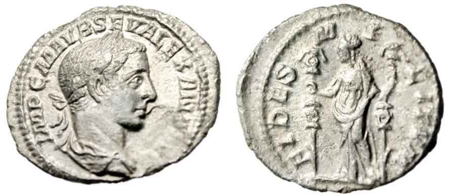 "Ancient Coins - Severus Alexander Silver Denarius ""Fides With Standards, Fidelity"" Rome 225 AD"