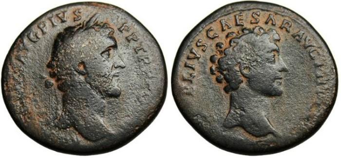 """Ancient Coins - Antoninus Pius & Marcus Aurelius, AE Sestertius """"Busts"""" RIC 1218 Scarce"""