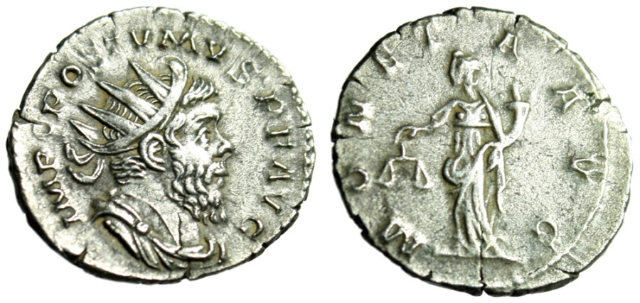 "Ancient Coins - Postumus Silver Antoninianus ""Moneta Holding Scales"" Cologne RIC 75 VF"