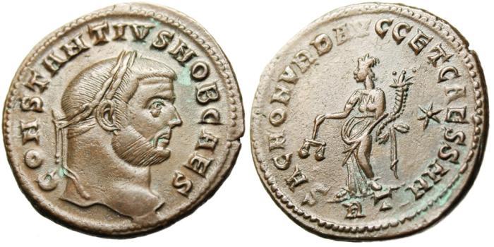"""Ancient Coins - Constantius I Caesar AE Follis """"SAC MON VRB AVGG ET CAESS NN Moneta"""" Rome"""