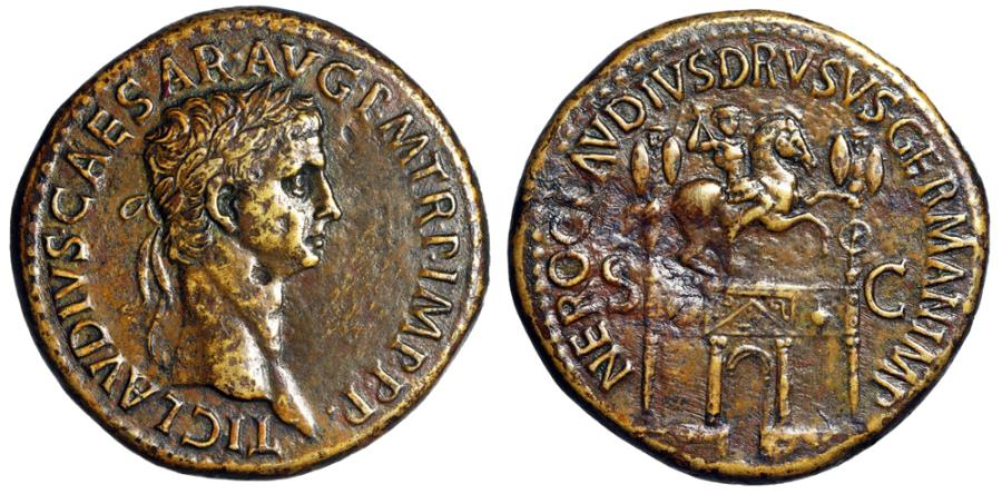 "Ancient Coins - Claudius I AE Sestertius ""Triumphal Arch, Equestrian Statue"" 50-54 AD  Good VF"