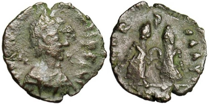 "Ancient Coins - Valentinian III, AE4 ""VICTORIA AVGG Two Victories"" Rome RIC 2131 Rare"