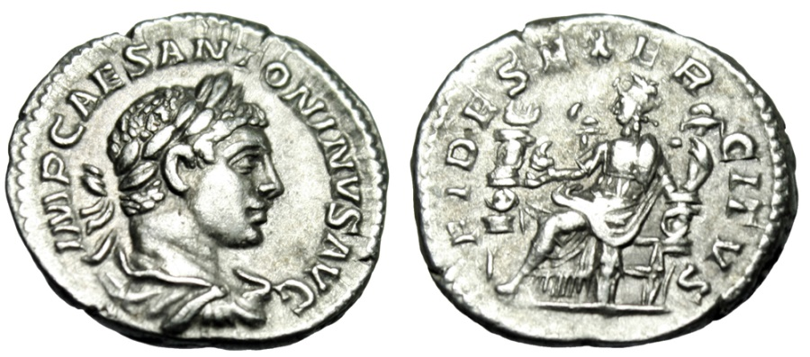 "Ancient Coins - Elagabalus Silver Denarius ""FDIES EXERCITVS Fides Seated, Standards"" RIC 68 gVF"