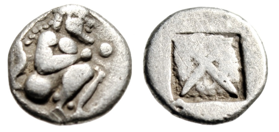 """Ancient Coins - Thraco-Macedonia Tribes, Siris AR Eighth Stater """"Satyr Crouching & Incuse"""" gF"""