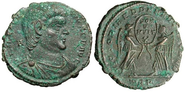 """Ancient Coins - Magnentius, AE Centenionalis """"Victories"""" Tier RIC 312 EF"""