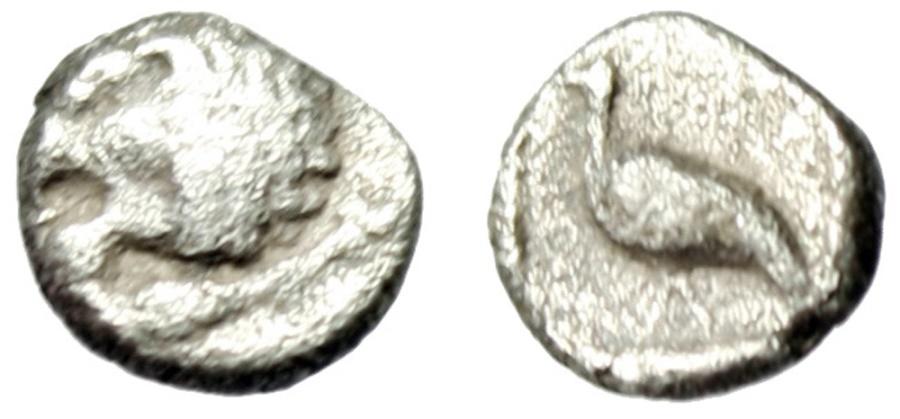 "Ancient Coins - Ionia Miletos Silver Tetartemorion (6mm) ""Head of Lion & Bird Left"" 6th-5th Century BC aVF"