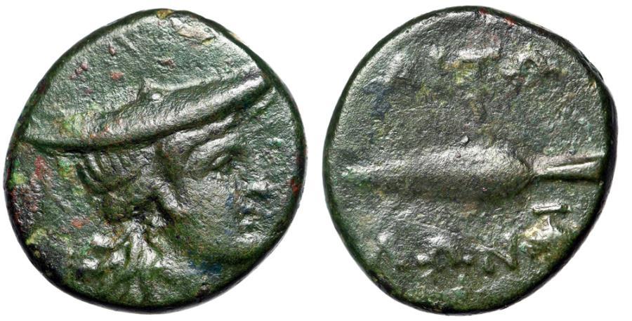 """Ancient Coins - Aitolia, Aitolian League AE18 """"Atalanta in Petasos & Spearhead, Grapes"""""""