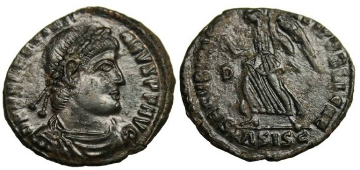 """Ancient Coins - Valentinian I, AE3 'Victory"""" Siscia RIC 7a EF"""