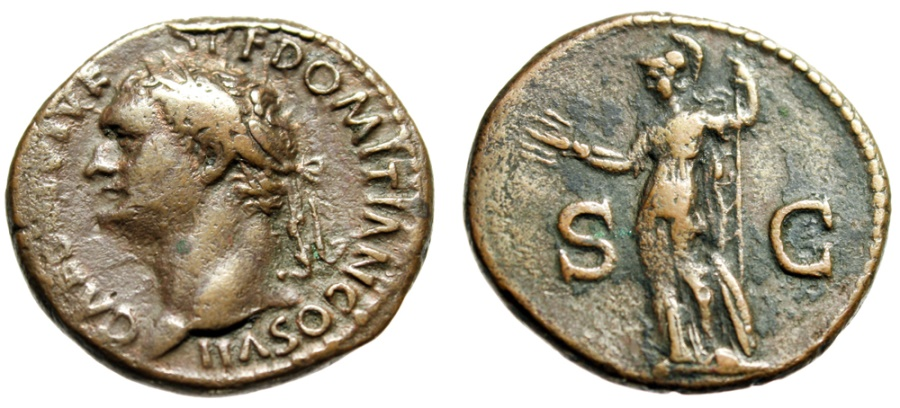 "Ancient Coins - Domitian as Caesar AE As ""Minerva, Spear & Thunderbolt"" Rome RIC 315 Rare"