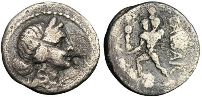 """Ancient Coins - Julius Caesar, AR Denarius """"Aeneas Holding Father"""" Crawford 458/1, Sydenham 1013 aF"""