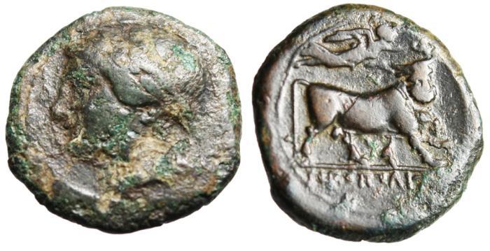 "Ancient Coins - Campania, Neapolis AE15 ""Apollo & Man-Headed Bull"""