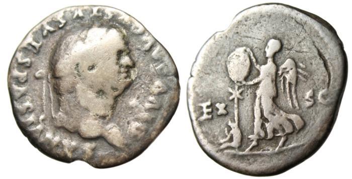 """Ancient Coins - Vespasian Silver AR Denarius """"Victory Trophy Captive"""" Judaea Capta RIC 59a"""