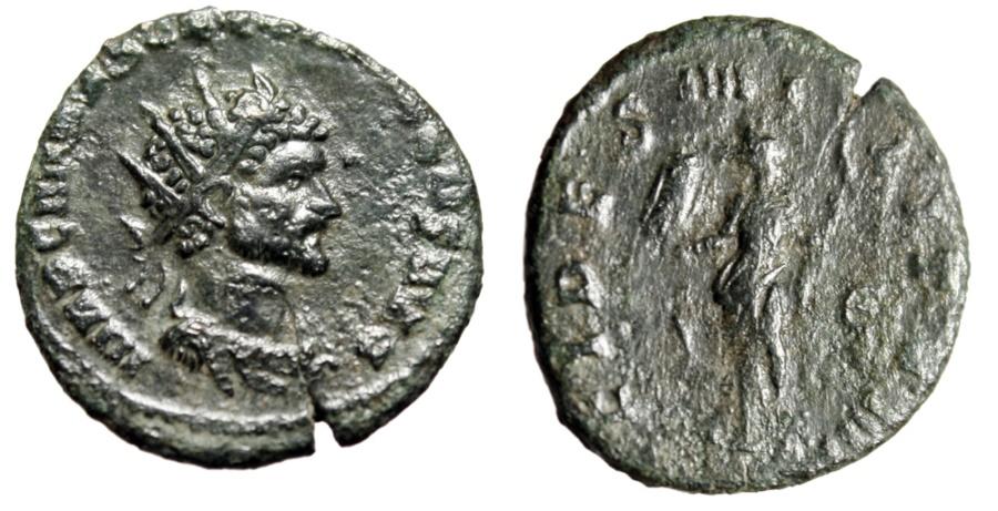 "Ancient Coins - Quintillus AE Antoninianus ""Fides With Ensign & Spear"" Rome 270 AD RUC 18 VF"