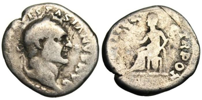 "Ancient Coins - Vespasian AR Denarius ""Pax Seated"" RIC 10"