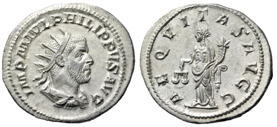 "Ancient Coins - Philip I AR Antoninianus ""Aequitas With Scales"" Rome RIC 27b UNC Good EF Choice"