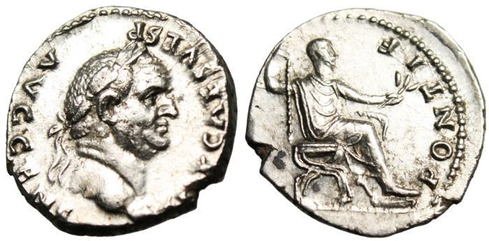 "Ancient Coins - Vespasian Silver AR Denarius ""PONTIF MAXIM Seated"" Rome RIC 65 Near EF"