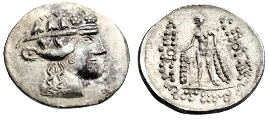 "Ancient Coins - Islands Off Thrace, Thasos Imitative AR Tetradrachm ""Dionysos & Herakles"" EF"