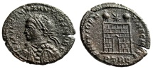 "Ancient Coins - Constantius II Caesar ""Decorated Bust / Campgate"" Trier RIC Unlisted Officina"