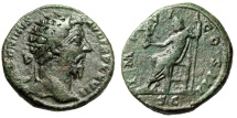"Ancient Coins - Marcus Aurelius AE Dupondius ""Jupiter Seated, Victory"" RIC 1065 About VF"