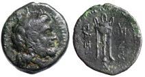 "Ancient Coins - Crete, Axos (Axus) AE 19 ""Zeus & Tripod, Monograms"" Rare VF"