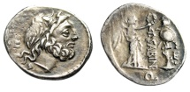 """Ancient Coins - P Sabinus AR Quinarius """"Jupiter E & Victory Crowning Trophy"""" Rome 99 BC VF"""