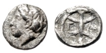 """Ancient Coins - Troas, Gargara (?) Hemiobol """"Apollo Left & G-A in Branched Line"""" Extremely Rare"""