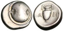 """Ancient Coins - Boeotia, Thebes Silver AR Stater """"Boeotian Shield & Amphora"""" Attractive VF"""