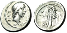 "Ancient Coins - C Sicinius & C Coponius Silver Denarius ""Apollo & Hercules Club Bow Lion Skin"""