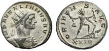 "Ancient Coins - Aurelian Silvered Antoninianus ""ORIENS AVG Sol With Bow Captive"" Rome RIC 64 gVF"