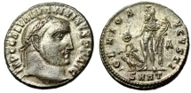 "Ancient Coins - Maximinus II Silvered Follis ""GENIO AVGVSTI Genius, Eagle"" RIC 76 Scarce EF"