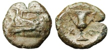 "Ancient Coins - Korkyra, Korkyra AE16 ""Prow of Galley & Kantharos (Urn)"" Rare"