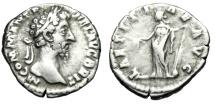 """Ancient Coins - Commodus Silver Denarius """"LAETITIAE AVG Laetitia, Rudder"""" Rome 201 Good Fine"""