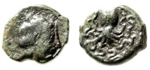 """Ancient Coins - Sicily, Syracuse AE Onkia """"Nymph & Octopus (Cuttle Fish)"""" 425-415 BC Good VF"""