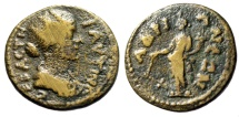 "Ancient Coins - Faustina II AE19 ""Tyche With Rudder"" Mysia Hadriani (Hadrianei) Rare"